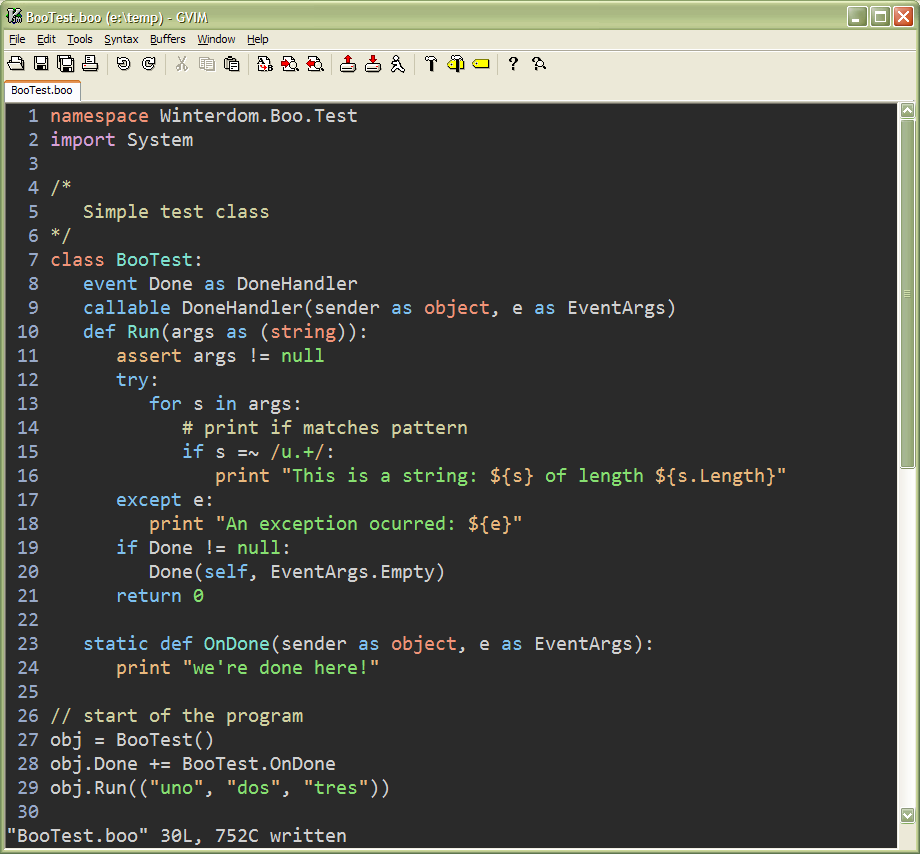 Boo Syntax for Vim